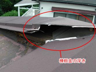 棟板金の浮き(この隙間から雨が侵入する)
