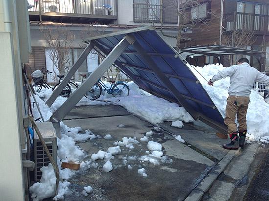 積雪によるカーポート被害