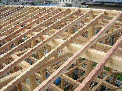 垂木を組み合わせた屋根構造