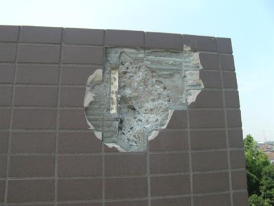 雷災害による外壁の破壊